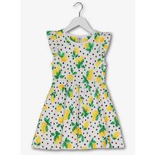 White & Lemon Print Frill Sleeve Jersey Dress (3-14 years)
