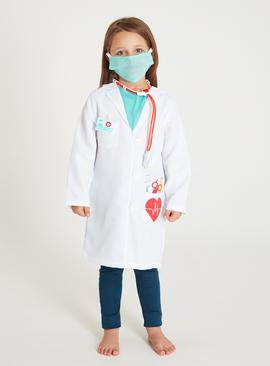 White Doctor Costume 5-Piece Set - 9-10 years