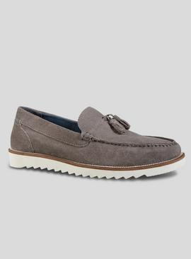 Online Exclusive Grey Suede Tassel Loafers