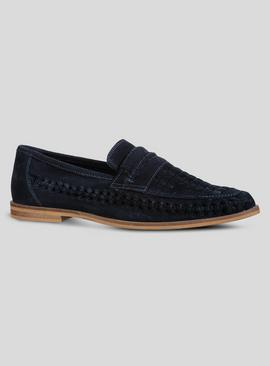 Online Exclusive Navy Suede Basket Weave Loafer