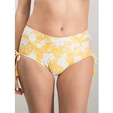 Yellow & White Floral Textured Soft Touch Bikini Short