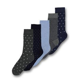 Blue & Grey Geometric Cross Trouser Socks 5 Pack