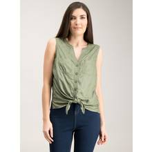 Khaki Green Palm Tree Jacquard Tie Front Shell Top