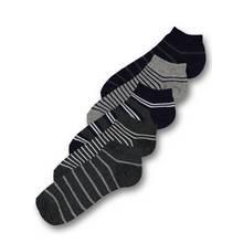 Grey & Navy Stripe Trainer Socks 5 Pack