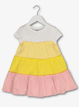 Multicoloured Tiered Jersey Dress