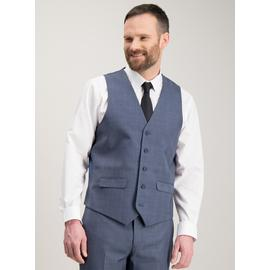 Blue Multi-Check Tailored Fit Waistcoat