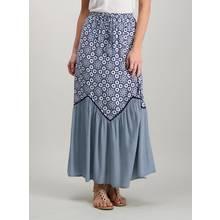 Navy & White Floral Print Maxi Skirt