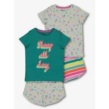 Multicoloured 'Sleep All Day' T-Shirt & Shorts Pyjamas 2 pac