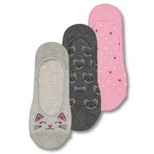 Grey & Pink Cat Footsie Socks 3 Pack - 4-8