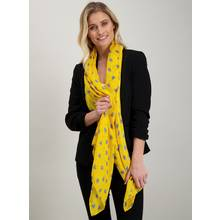 Yellow & Navy Shell Print Scarf - One Size