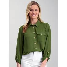 Khaki Green Boho Button Detail Shirt