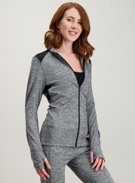 Active Grey Space Dye Zip Through Top