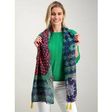 Multicoloured Patchwork Print Scarf - One Size