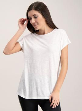 Active White Slub Cap Sleeve T-Shirt