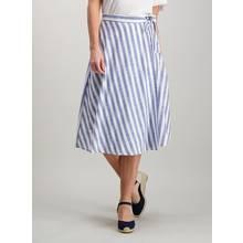 Blue Striped Wrap Around Skirt