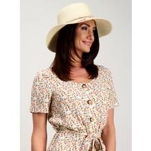 Natural Floral Print Floppy Hat - One Size
