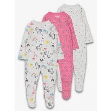 Pink & White Unicorn Print Sleepsuit 3 Pack