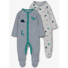 Grey & Green Dinosaur Print Sleepsuits 2 Pack (0-24 Months)