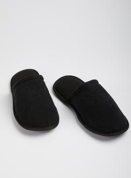 Black Micro-Cord Velour Mule Slipper