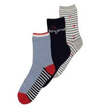 Multicoloured Bonjour Stripes Patterned Ankle Socks 3 Pack -