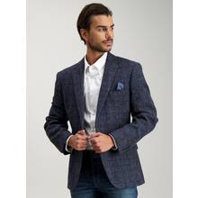 Navy Check Harris Tweed Tailored Wool Jacket