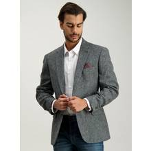Grey Wool Herringbone Tailored Jacket