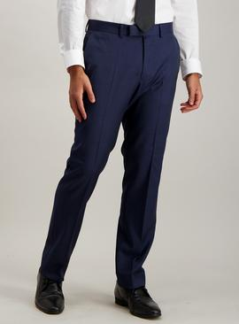 Blue Textured Wool Tailored Fit Suit Trousers