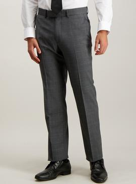 Grey Check Wool Blend Tailored Fit Suit Trousers