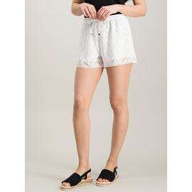 White Stretch Lace Jersey Short
