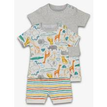 Multicoloured Safari Print Shortie Pyjama 2 Pack