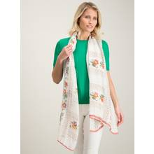 Multicoloured Floral Print Coin Trim Scarf - One Size