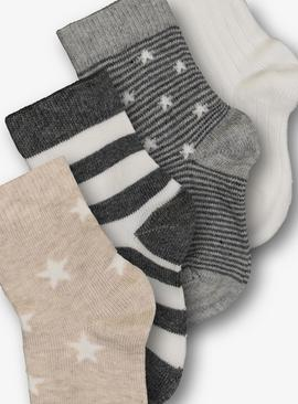 Multicoloured Neutral Socks 4 Pack - Up to 1 mnth