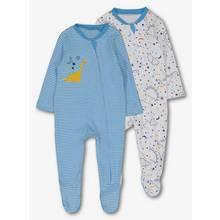 Blue & White Dinosaur Sleepsuits 2 Pack