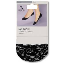 Black Lace Edge No-Show Footsies 2 Pack - One Size