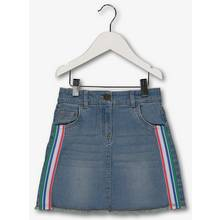 Blue Denim Skirt With Striped Taping
