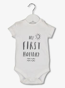 Online Exclusive White Holiday Slogan Bodysuit