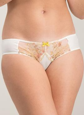 Cream Floral & Gold Lace Brazilian Knickers
