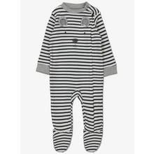Grey & White Stripe Bear Sleepsuit