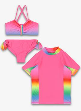 Pink Ombré 3 Piece Swim Set