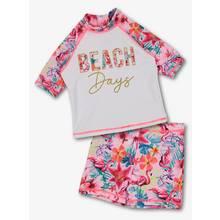 Pink & White 'Beach Days' Flamingo Sunsuit