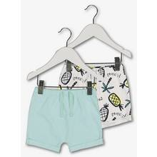Pale Blue & Pineapple Jersey Shorts 2 Pack - Up to 1 mth