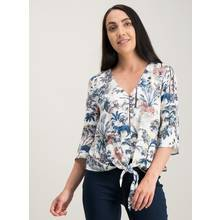 Multicoloured Safari Animal Print Tie-Front Blouse