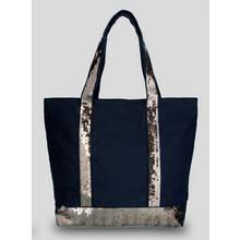 Black Canvas Sequin Shopper - One Size