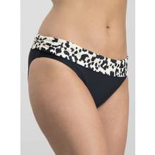 Black Leopard Print Roll Top Bikini Briefs