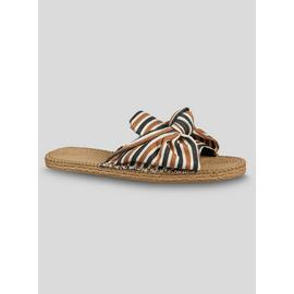Online Exclusive Stripe Bow Open Toe Mules