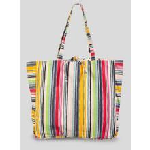 Multicoloured Stripe/Floral Reversible Canvas Shopper - One