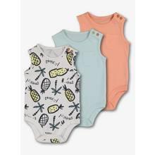 Pastel Tropical Sleeveless Bodysuits 3 Pack