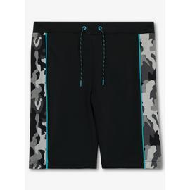 Black Camouflage Long Swim Shorts