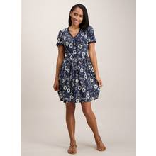 Navy Daisy Print Tea Dress