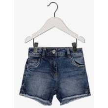 Blue Denim Ripped Hem Shorts